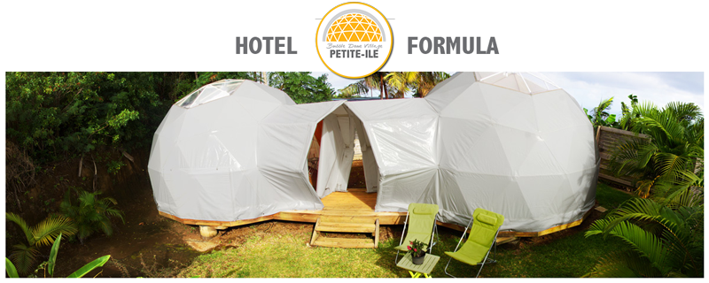 Bubble Dome Village. Little Island site. Double domes. Hotel formula with high comfort. Showers or bath, private area and private bathroom.